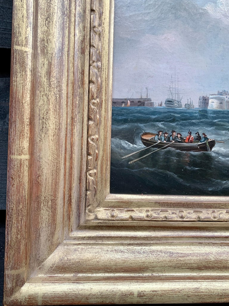 Antique 19th century English Yacht and Warship at sea off Portsmouth Harbor UK For Sale 2