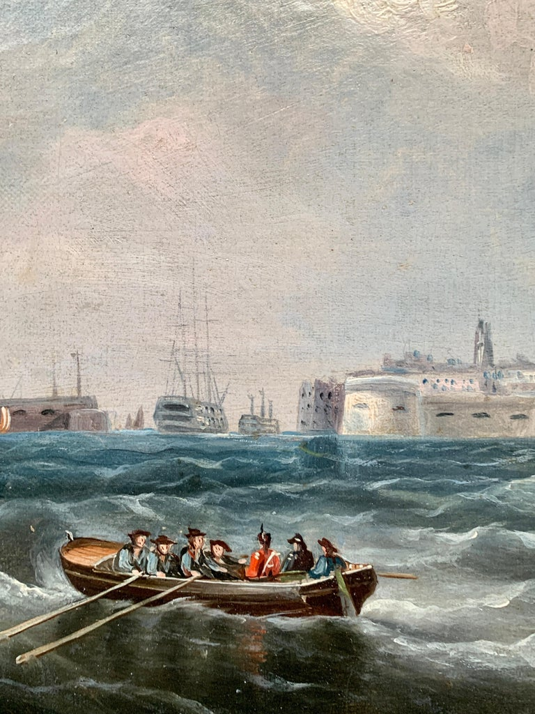 Antique 19th century English Yacht and Warship at sea off Portsmouth Harbor UK For Sale 3