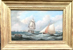 Antique 19th century English Yacht and Warship at sea off Portsmouth Harbor UK