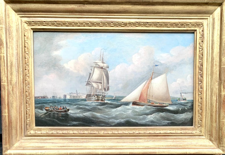 R.B.Spencer Landscape Painting - Antique 19th century English Yacht and Warship at sea off Portsmouth Harbor UK