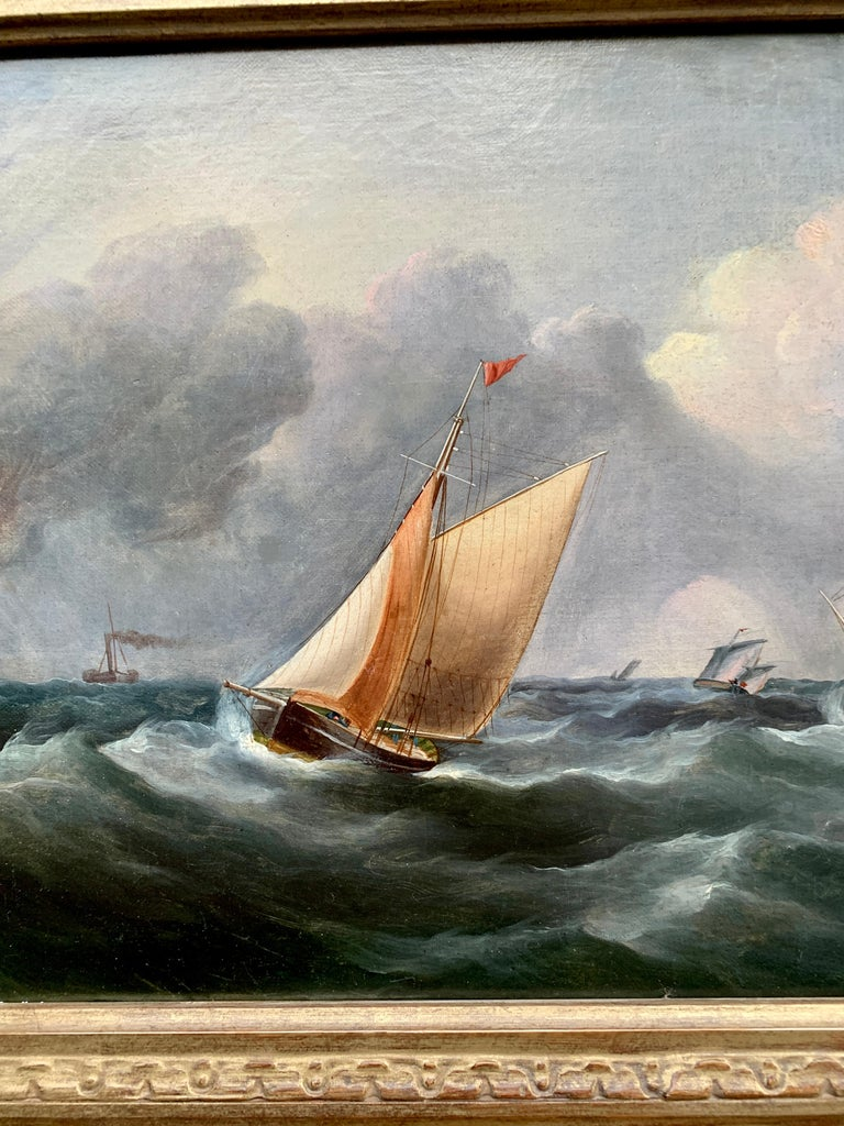 Antique 19th century English Yacht and Warship at sea off the English coast - Painting by R.B.Spencer