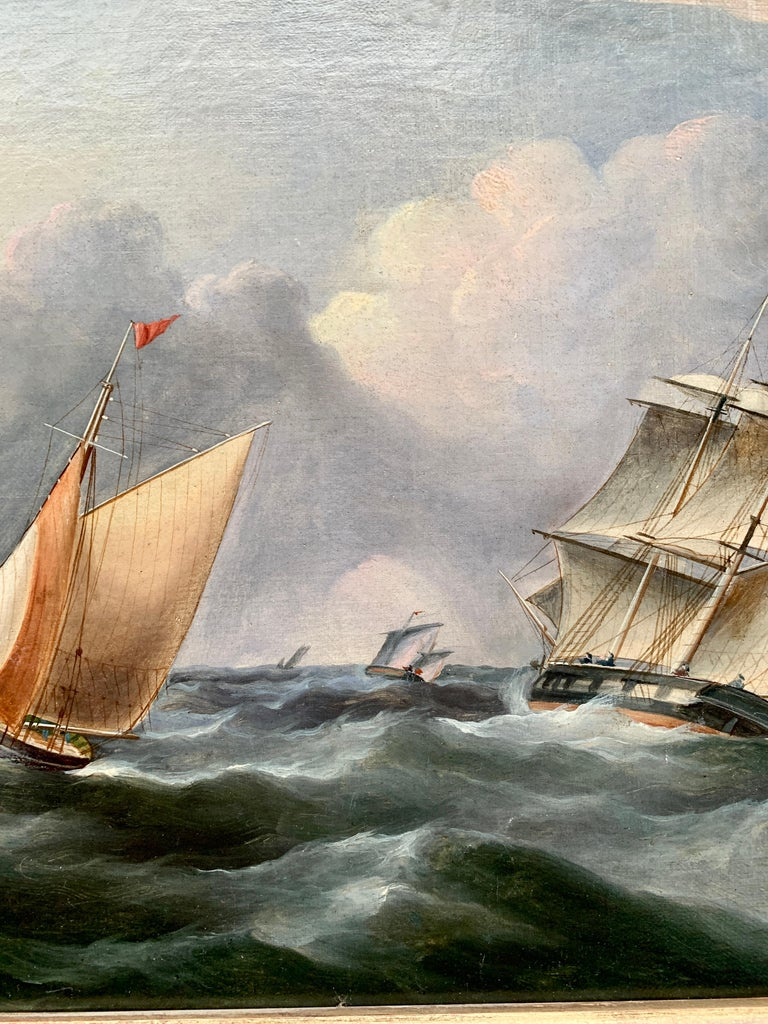 Antique 19th century English Yacht and Warship at sea off the English coast - Victorian Painting by R.B.Spencer