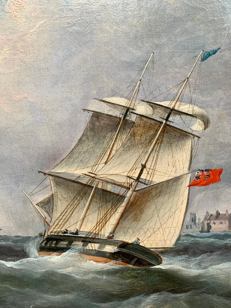 Antique 19th century English Yacht and Warship at sea off the English coast - Brown Figurative Painting by R.B.Spencer