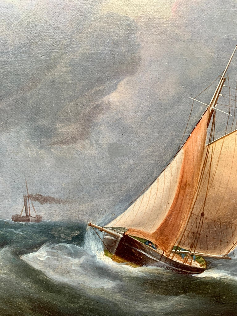 Antique 19th century English Yacht and Warship at sea off the English coast For Sale 1