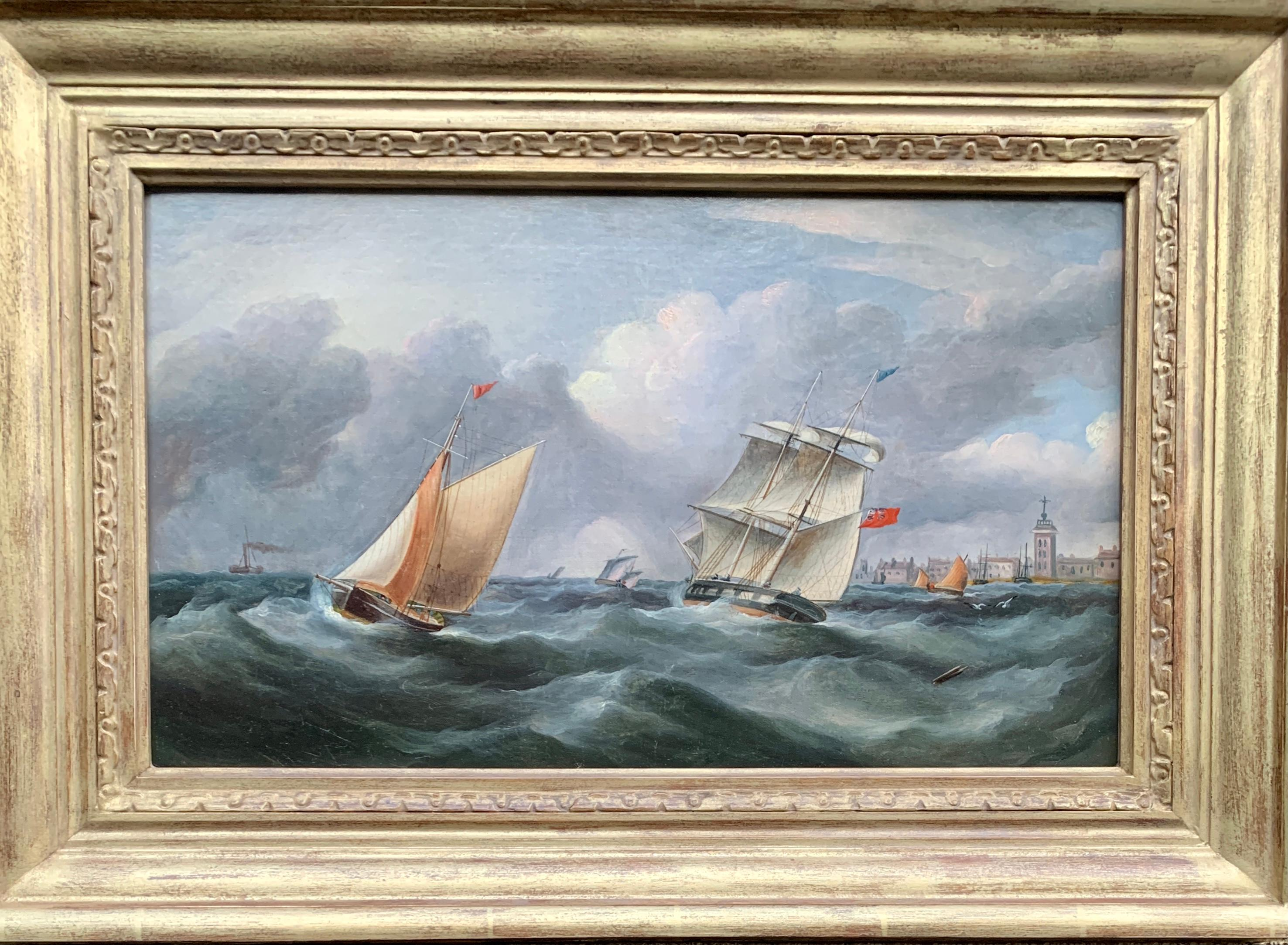 Antique 19th century English Yacht and Warship at sea off the English coast