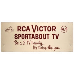 RCA Portable TV Advertising Sign Circa Mid-20th Century Brown Over Beige On Wood