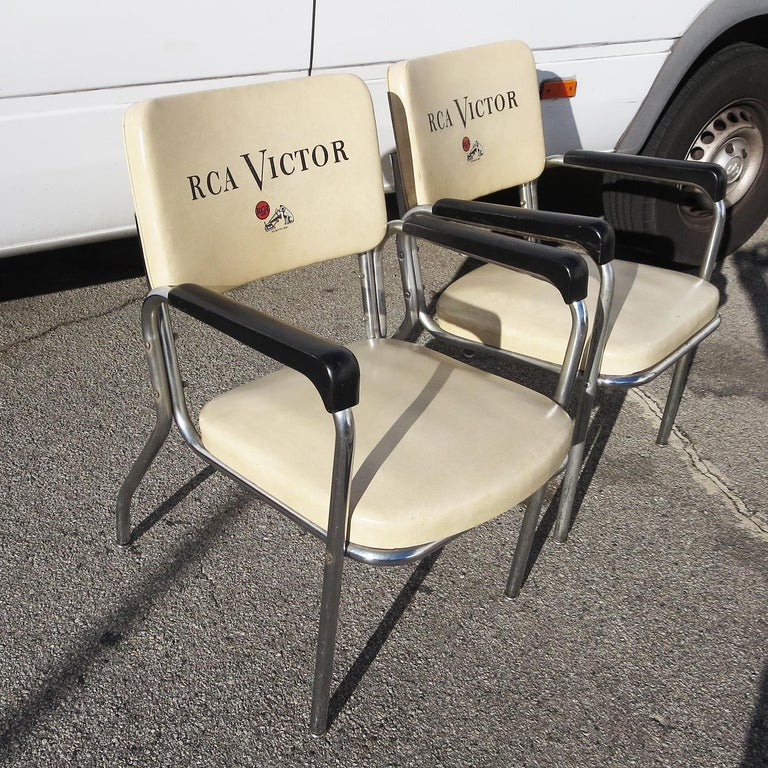Art Deco RCA Victor Tubular Chrome Chairs For Sale