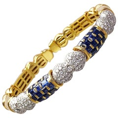 R.C.M. 18 Karat Gold, 4.25 Carat Blue Sapphire and 2.20 Carat Diamond Bracelet