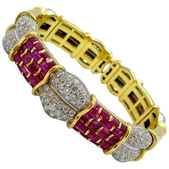 R.C.M. 18 Karat Yellow Gold 5.75 Carat Ruby and Diamond Bracelet