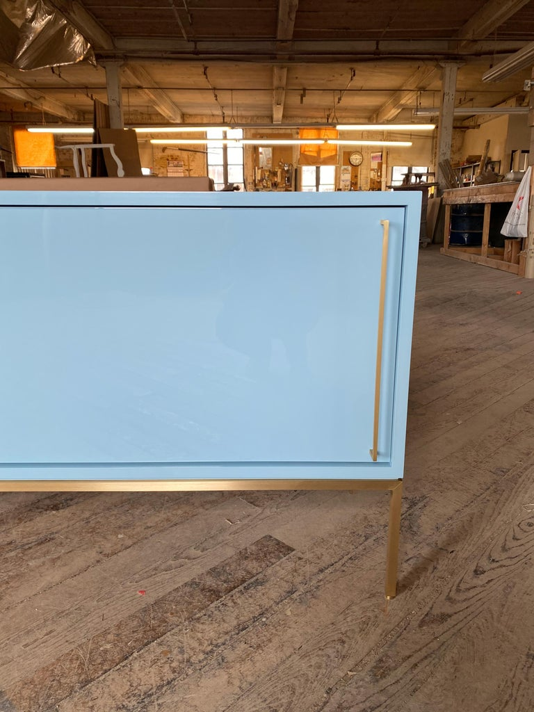 Mid-Century Modern re: 379 Lacquered Credenza on Solid Brass Base For Sale