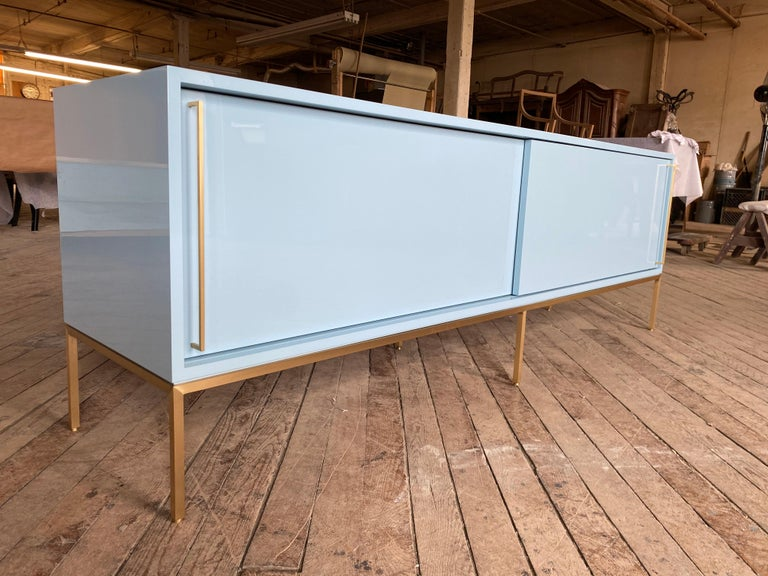 re: 379 Lacquered Credenza on Solid Brass Base In New Condition For Sale In New York, NY