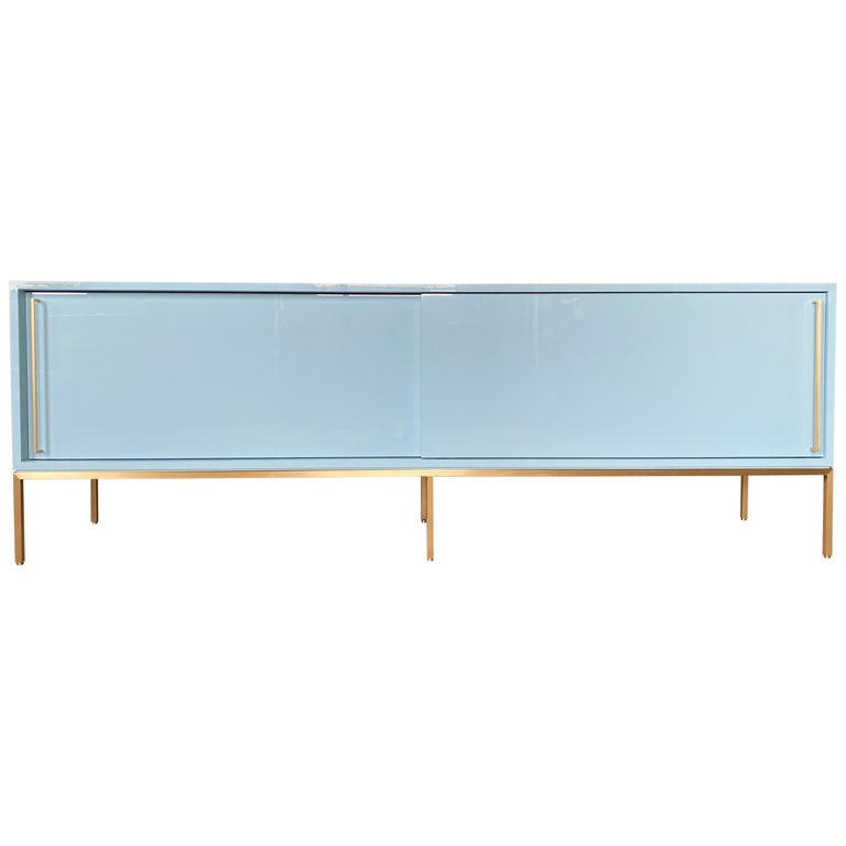re: 379 Lacquered Credenza on Solid Brass Base For Sale