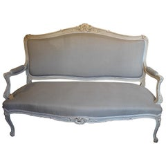 Re-Upholstered Antique Large French Carved Painted 3-Seat Canapé or Sofa