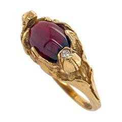 """Reaching"" Ring with Almandine Garnet & Diamond Accent in 18 Karat Yellow Gold"