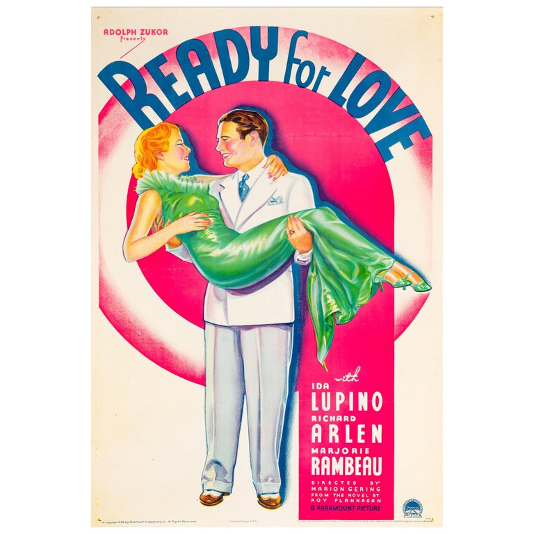 'Ready For Love' Original Vintage US One Sheet Movie Poster, 1934 For Sale