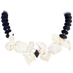 Gemjunky Abstract Modern Ocean Cultured Pearls & Black Onyx Coctail Necklace