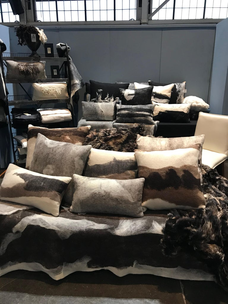 Hand-Crafted Real Fur Pillow, Truffle Brown, Authentic Toscana Sheep Fur For Sale