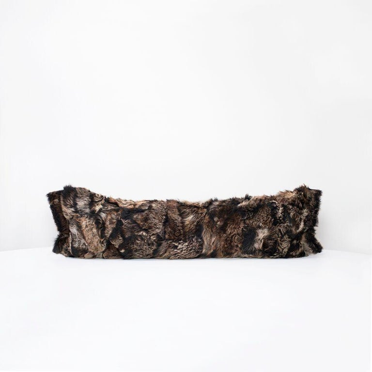 Contemporary Real Fur Pillow, Truffle Brown, Authentic Toscana Sheep Fur For Sale