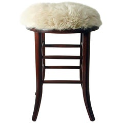 Real Iceland Cream Sheep Lamb and Walnut Upholstered Stool Chair, Austria, 1940s