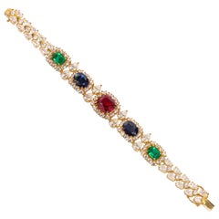 On Sale !! Real Looking Multi Color Faux Gems CZ Vermeil Sterling Bracelet