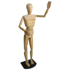 Real Size Wooden Portraiture Mannequin Figurine, 1970s