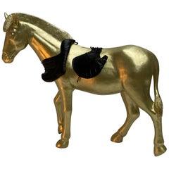 Real Sized Golden Horse by Lingerie Designer Marlies Dekkers, the Netherlands