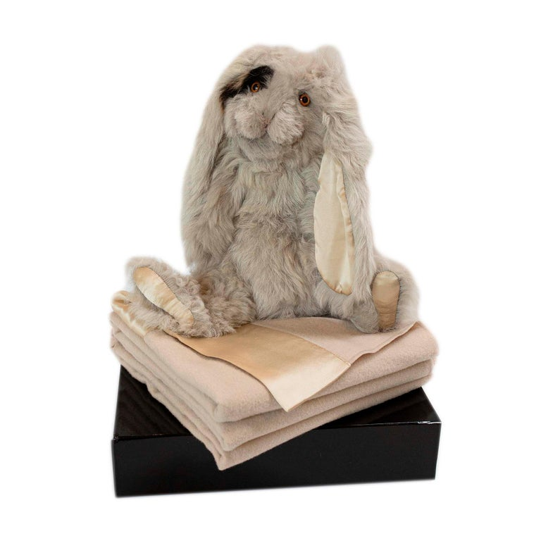 Real Toscana Sheep Black Fur Rabbit Toy For Sale 4