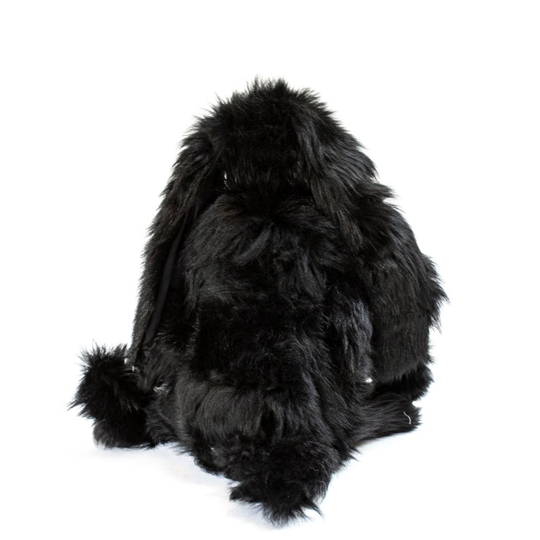 Hand-Crafted Real Toscana Sheep Black Fur Rabbit Toy For Sale
