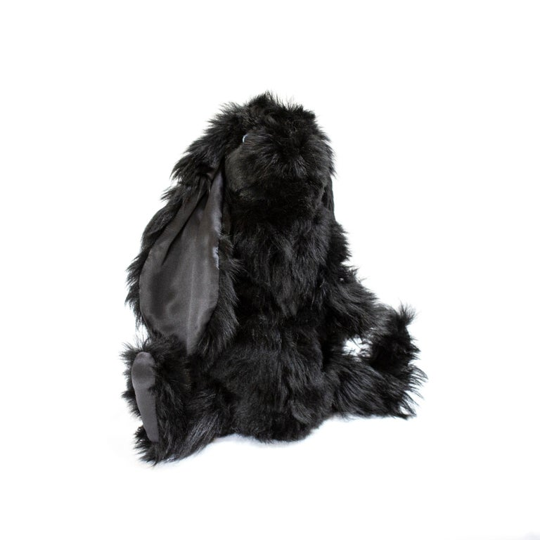 Real Toscana Sheep Black Fur Rabbit Toy In New Condition For Sale In Sebastopol, CA