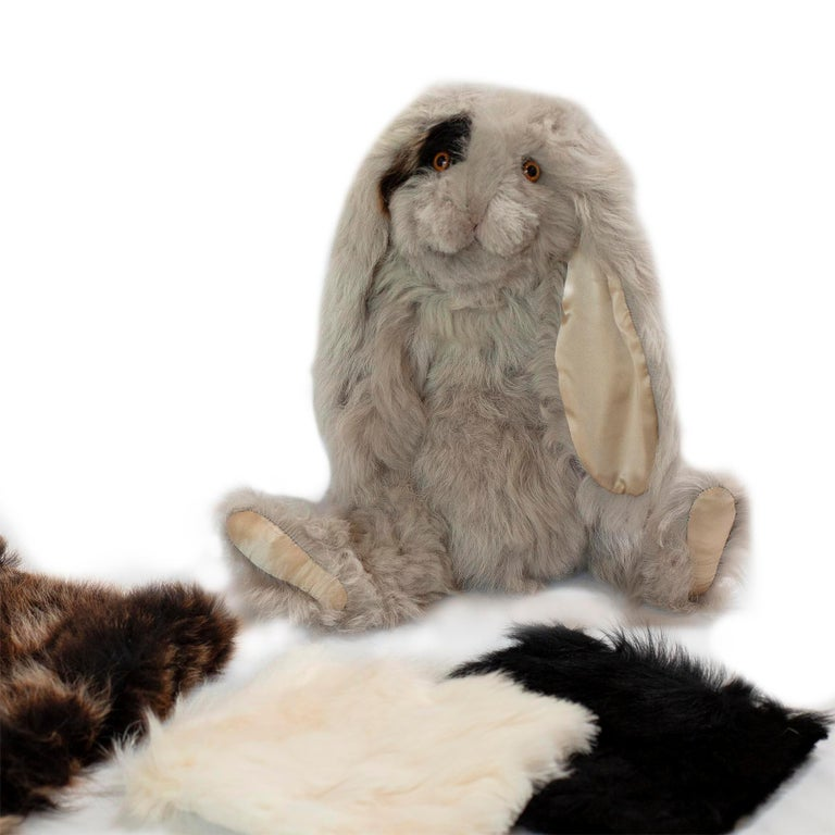 Contemporary Real Toscana Sheep Black Fur Rabbit Toy For Sale