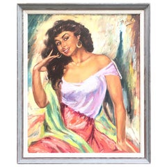 Realest Oil on Canvas of a Spanish Señorita by Charles Roka from the 1960s