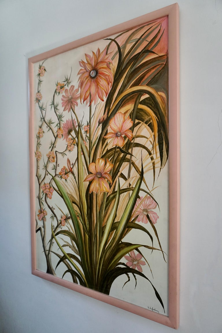 A beautiful realist painting of pink flowers by Artist, L Lafortune.   Medium: Oil on canvas.