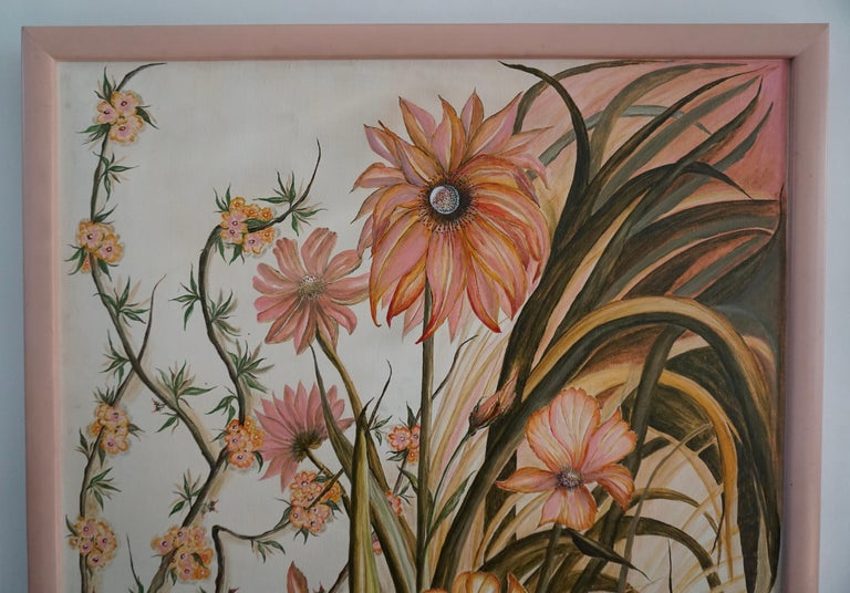 Hollywood Regency Realistic Pink Flowers Painting by L Lafortune For Sale