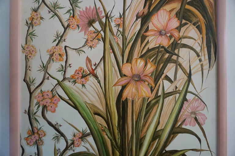 Belgian Realistic Pink Flowers Painting by L Lafortune For Sale