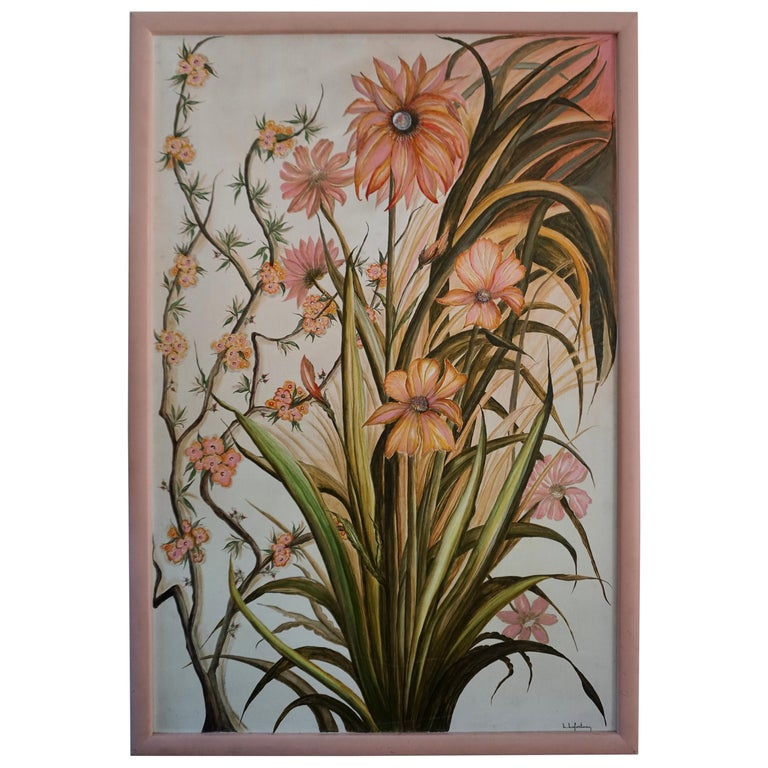 Realistic Pink Flowers Painting by L Lafortune For Sale