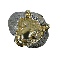 Realistically Formed 9 Carat Gold and Diamond Lion Head Signet Ring