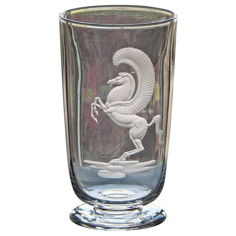 """Rearing Pegasus,"" Classic Art Deco Engraved Glass Vase, Waugh for Steuben For Sale"