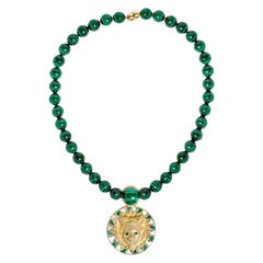 Reava Pendant with Mother of Pearl + Malachite in 18K Gold