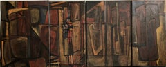 Argentine Abstract Constructivist Quadriptych Oil Painting Latin American Woman