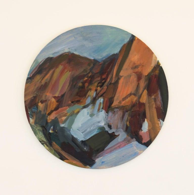 Rebecca Allan Landscape Painting - Icicle River Tondo (Washington State)