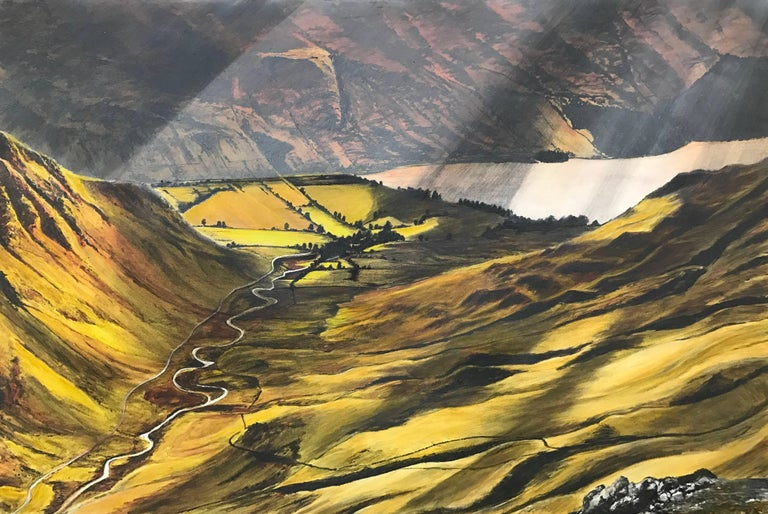 Landscape Painting of the English Lake District by British Contemporary Artist Rebecca Ann Wilmer. Born in Lancashire in 1979, Rebecca went through her school-life painting and drawing landscapes. Gaining a BA (Hons) in Surface Pattern, and an MA in