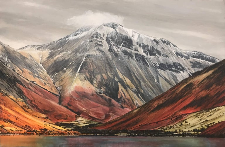 Mountain Landscape Painting of Great Gable in the English Lake District by British Contemporary Artist Rebecca Ann Wilmer. Born in Lancashire in 1979, Rebecca went through her school-life painting and drawing landscapes. Gaining a BA (Hons) in