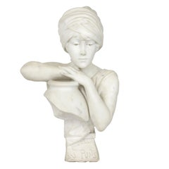 """""""Rebecca at the Well"""" Italian Marble Antique Bust Sculpture by Antonio Piazza"""