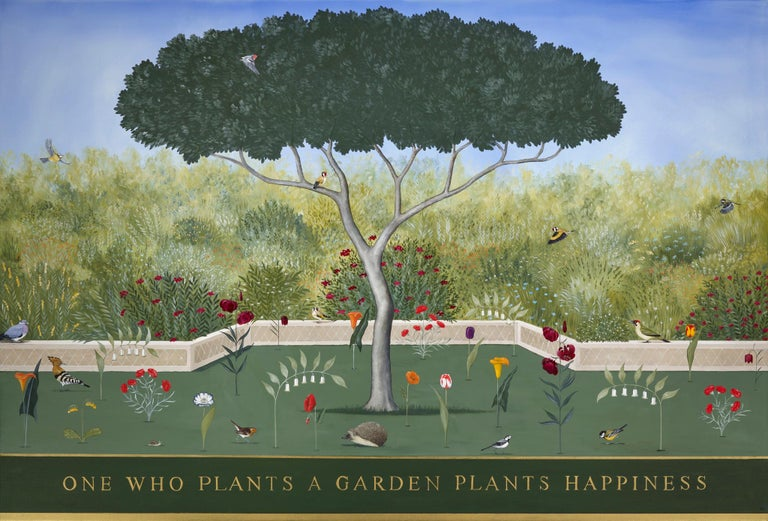 Rebecca Campbell Animal Painting - ONE WHO PLANTS A GARDEN PLANTS HAPPINESS
