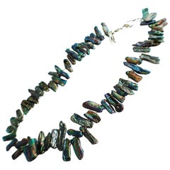 Rebecca Collins Abalone Shell Necklace Lustrious Colors