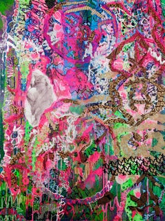 """""""Into The Trumpet's Mouth"""",  ribbons of designs in pinks and greens swirl"""