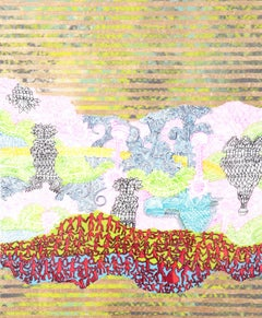 """Tall Tales No. 1"", symbols, clouds, red silhouettes float on yellow and pink"