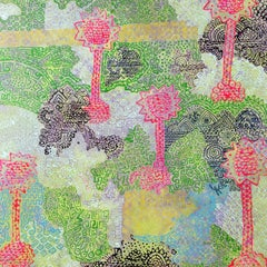 """""""This is My Land"""" texture of linear symbols on pink, green and blue background"""