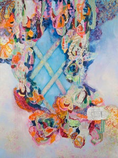 """""""With Hardly an Interruption"""", ribbons and diamond trellis in oranges and blues"""