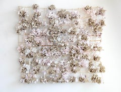 """""""Distending Pink"""", Contemporary Mixed Media Wall Sculpture with Ceramic, Paper"""